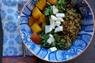 composed salad of golden beets, arugula and grains w/ lemony herb dressing