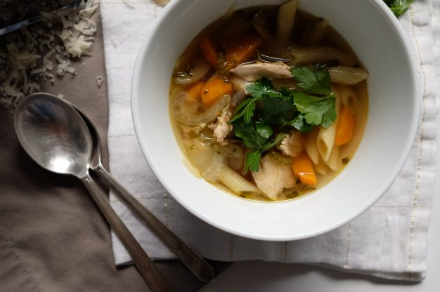 Roast Chicken and Penne Soup
